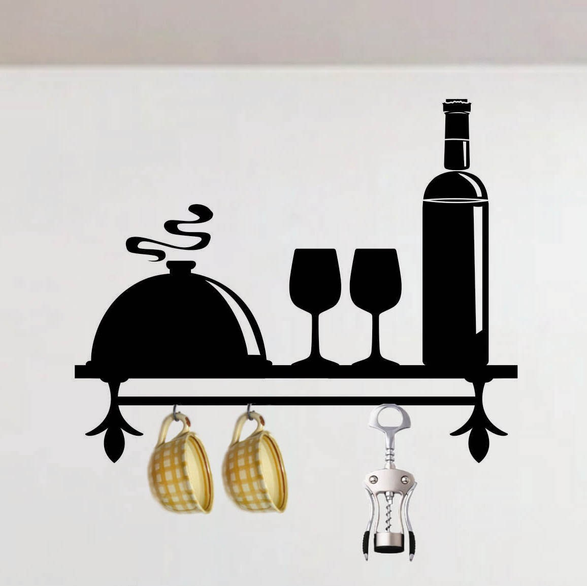 Decorative Wall Shelf For Kitchen : Decorative faux kitchen shelf decal vinyl wall by