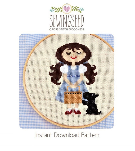 Dorothy and Toto, Wonderful Wizard of Oz cross stitch pattern Instant Download