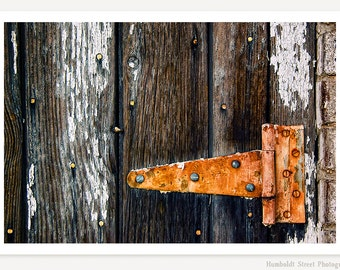 Hinge - Rustic Photograph - Still Life Photo - Color Photography - Rust Orange Brown White Black Gray Wall Art
