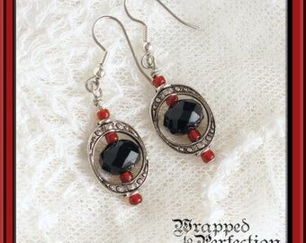 Victorian Black, Red & Silver Earrings / Vintage Inspired Dangle / Downton Abbey / Edwardian Oval Frame / Allergy Free Ear Wires