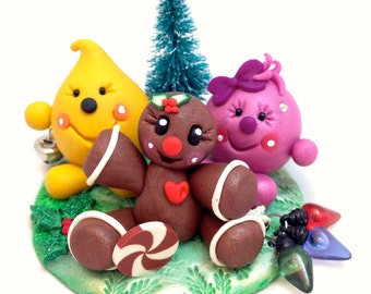 Christmas Gingerbread Man Parker & Lolly Figurine - StoryBook Scene Polymer Clay Sculpture