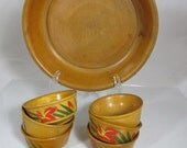 Vintage Small Wooden Serving Bowl Set Hipster Condiment Mid Century Japanese