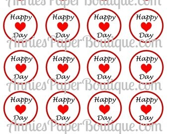 Happy Heart Day Round Valentine's Day Tags -  Valentine - Printables, Digital Download, Clip Art - Use for Treats, Candy, Favors, School