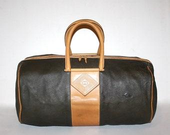 GUCCI Vintage Duffle Handbag Taupe Tan Leather Large Travel Bag - AUTHENTIC -