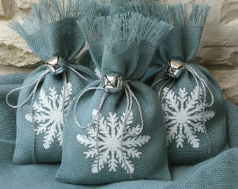 Burlap Gift Bags, Set of FOUR, Snowflake, Shabby Chic Christmas Wrapping, Slate Blue, Silver Jingle Bell Tie On, White, Hand-painted .