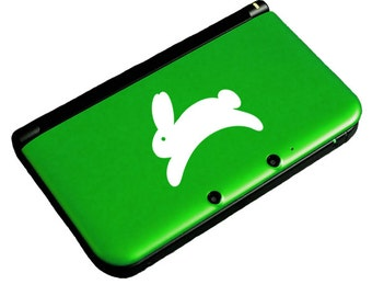 "Tiny Bunny Decal / Leaping Rabbit Laptop Sticker / Cute Bunny 3DS Decal / Jumping Bunny Car Sticker / 1.75""h x 2.25""w / #384"