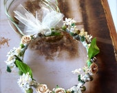 Flower Girl Floral Wreath Crown Halo Circlet.  Handmade with tulle, flowers, ribbon and floral balls. Green and ivory flower halo.