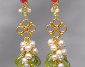 18K Solid Gold Dangle Earrings with Floral Detail, Ruby, Peridot, Pearl