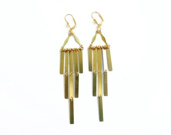 Geometric Statement Earrings, Brass Fringe Earrings, Art Deco Statement Jewlery