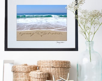 Bride and Groom Wedding Gift - Anniversary Gift - Framed and matted - Personalized sand writing Names written in the real sand beach.