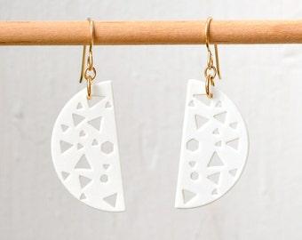 80's Fashion Porcelain Earrings - Laser Cut Ceramic Jewelry - Gold Earings