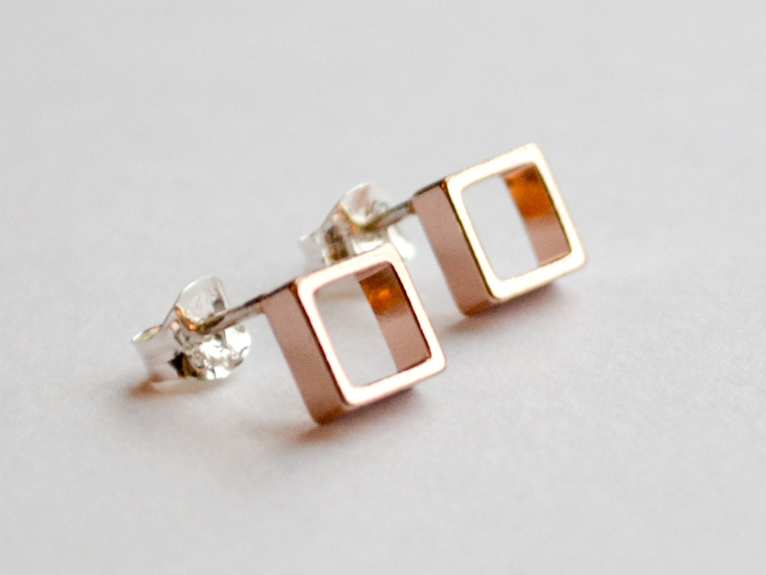 Rose Gold Stud Earrings  Small Pink Square Earings  Geometric Rose Gold  Studs  Everyday