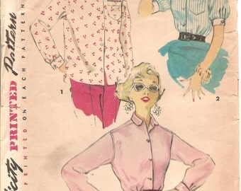 1950s Blouse Pattern - Vintage Simplicity 4854 - Bust 31