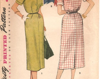 1950s Day Dress Pattern - Vintage Simplicity 4636 - Bust 32 Detachable Collar Cuffs