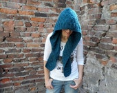 Blue Hooded Scarf, Teal Scoodie, Chunky Cowl, Pixie Hood, Winter Fashion - bysweetmom