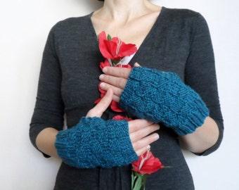 Fingerless Mittens, Fingerless Knit Mittens Gloves, Wool Mittens Gloves in Teal Blue, Winter Accessories