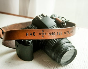 Camera Strap - Custom Leather Personalized Latitude and Longitude Coordinates, Compass Rose and Initials - Binoculars Strap for Him