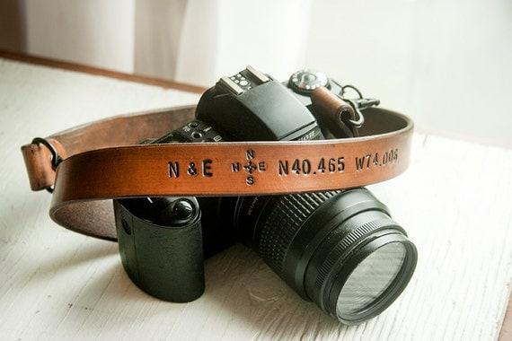 Camera Strap Custom Leather Personalized Latitude and