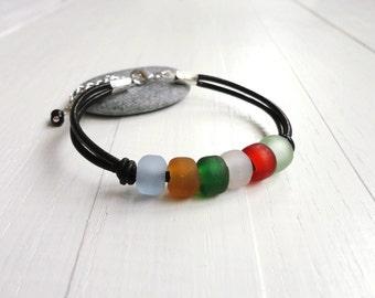 Pony glass bead bracelet black leather cords cuff colorul frosted boho bracelet