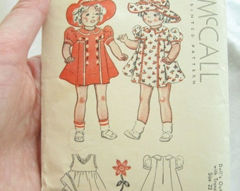 McCall 22 Inch Baby Doll Dress Outfit Vintage Sewing Pattern