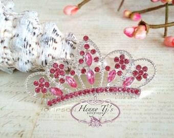 4 pcs PINK Crystals Tiara Crowned Princess  Rhinestone Buttons, Crystal Tiara Bow Embellishment, Bridal Wedding Cake Decorations