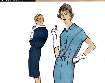 50s Bloused Back Sheath Dress Pattern Vogue Couturier Design 118 Vintage Sewing Pattern Size 12 Bust 32 UNUSED Factory Folds