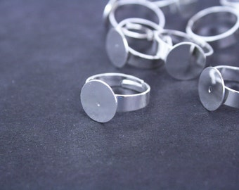 6 Silver Plated Ring Bases 12mm / 4mm Wide Band Adjustable Ring Blanks Ring Shanks [RNG3004] [Bin3A]