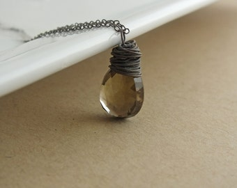 Smoky Quartz Oxidized Necklace, Brown Gemstone Necklace, Smoky Quartz Necklace