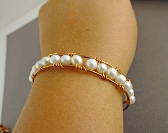 Pearl Copper Cuff, Freshwater Pearl Cuff, June Birthstone Gift Idea