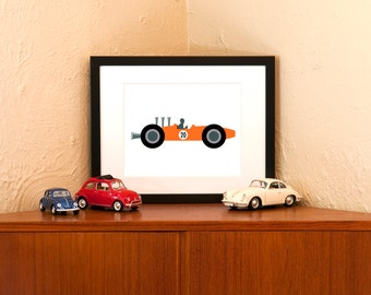 Retro Racer Man Art Print in Red, Orange or Green - 8x10 with Free Shipping in US