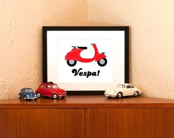 Vintage Red Vespa Art Print on 100% Recycled Paper (Free Shipping in US)