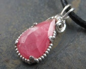 Bubble Gum Pink Rhodochrosite in Sterling  - Simple Stone Pendant Charm