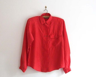 Vintage Silk Shirt in Tomato Red - Large
