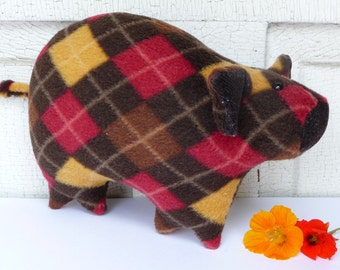Piglet stuffed animal, fleece piggy, stuffed pig, argyle