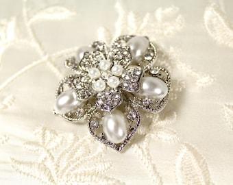 Pearl Bridal Brooch Pin, Vintage Style Bridal Brooch, Crystal Brooch, Wedding Pin, Rhinestone Brooch with White Swarovski Pearl