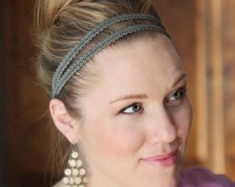 Grey Elastic Headband, Double Strand Stretchy Headband