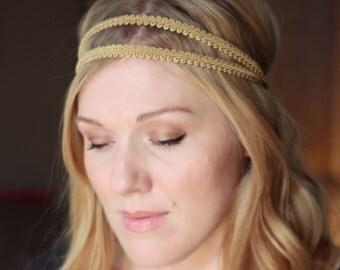 Gold Grecian Elastic Headband, Double Strand Stretch Headband