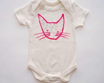 SALE | Neon Kitty | Organic Baby Bodysuit | Screen Printed Baby Clothing | Snappie | Organic Baby Clothes | Infant One Piece | Baby Tee