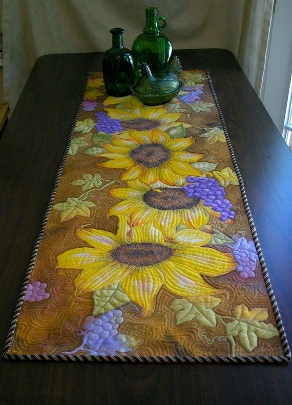Sunflower Table Runner Hand Painted Art Quilt