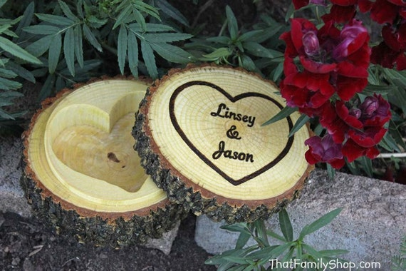 Rustic Jewelry Box Log with Hollowed Heart, Ring Bearer Pillow Dish with Lid Custom Personalization
