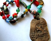 Whale and Rainbow Necklace, Rustic Primitive Bronze Necklace, Free Priority Shipping in US,