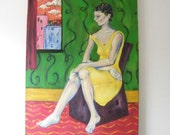 Vintage Painting Woman by Window Art Deco Skyscrapers City Room of One's Own Large Canvas