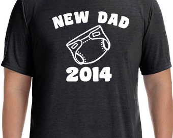 Wedding Gift New Dad Mens T shirt New Dad 2014 T-shirt  Husband Gift Tshirt Fathers Day Gift Valentine's Day Gift