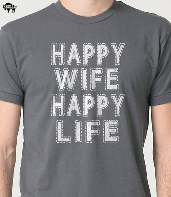 Wedding Gift Happy Wife Happy Life Mens T shirt Valentine's Day Wife Gift Funny Tshirt Husband Gift Father's Day