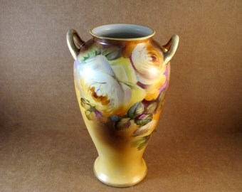 CLEARANCE Noritake Nippon Vase 8 inch with double Handle and M in Wreath Mark