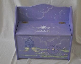 Custom Toy Chest Bench - Fairy Princess Castle Coach Design - Special Order - Nursery - Baby Gift - Shower Gift - Kids Toy Chest - Toy Box
