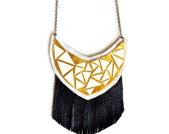 Black Fringe Leather Bib Necklace, Statement Crescent Necklace, Geometric Jewelry, Gold and White Triangle Facets