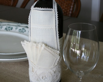 Wine Bottle Apron and Coaster Set Vintage Linen and Lace