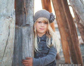 Grey Girl's Hat, Crochet Beret for Girls, Slouch Hat with Flower, Girl's Slouchy Beanie, Hats for Girls, Size 5 to Teen