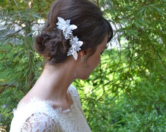 Sparkly Pearl and Crystal Leaf Bridal Hair Comb, Wedding Haircomb, Something Blue Head Piece